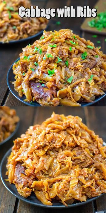 This mouthwatering Cabbage with Ribs recipe is a life-changer! Delicious cabbage stewed, and then baked to perfection with tender and succulent ribs. #cabbage #dinner #ribs #recipeoftheday