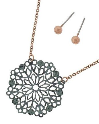 8c9214aeae21bd Gorgeous Floral Art Cut Copper Patina Necklace with Copper Stud Earrings