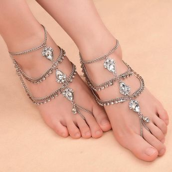 c87863622f7d0 Vintage Antique Gold Water Drop Crystal Beach Women Anklets Foot Chain  Wedding Jewelry