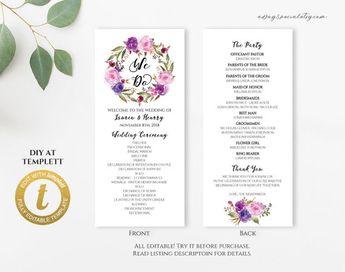 Printable Wedding Program, Wedding Program Template, Romant