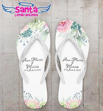 07446addda Nossos(a) Chinelo Casamento Floral Delicado Personalizado COD 5013 são  especialmente desenvolvidos(as