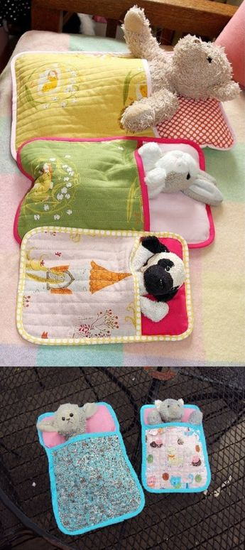 """Sleeping Bags for Soft Toys. As soon as I saw the original pin, I knew Clare would love a few of these for her tribe of lambs and cats. I downloaded the pattern from this link and found it very easy to follow. Also a really good """"sampler"""" for those, like myself, who are just starting out on machine quilting. Clare loves them and wants more..."""