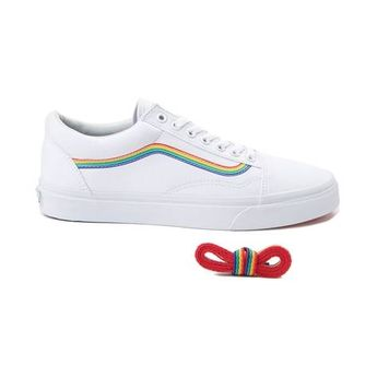 791183f411e Vans Old Skool Rainbow Skate Shoe - White - 497266