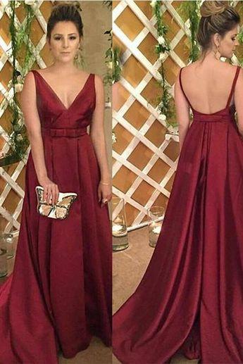 66f12acf16078 Simple V Neck A Line Burgundy Satin Bow Long Fancy Prom Dresses Formal  Evening Grad Dress
