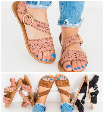 ad Step into spring with these cut out detailed sandals. They are so easy to dress up or down. You'll want them in every color! $17.99.  . #sixsistersstyle #footwear #sandals #springfashion #summerfashion #instafashion