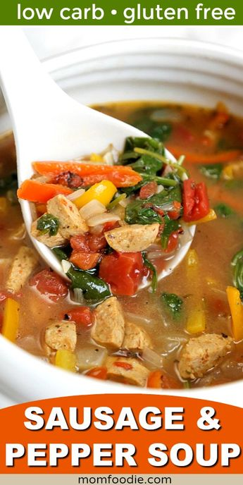 Sausage and Pepper soup - low carb soup recipe #soup #lowcarbrecipes #keto #glutenfree