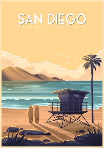 California Travel Posters: San Diego by George Townley.