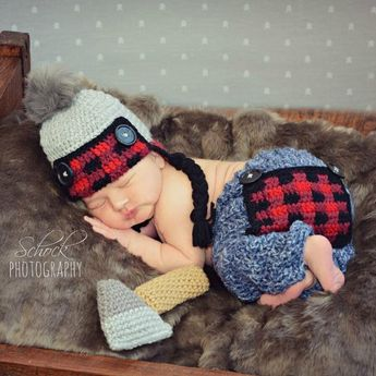 97898fcbc233d Crochet Baby Lumberjack Plaid Hat Beanie Pants Ax Set Newborn Infant Baby Photography  Photo Prop Handmade