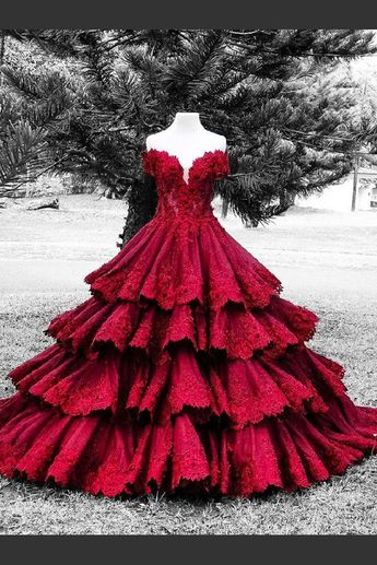 Outlet Comely Ball Gown Wedding Dresses, Wedding Dresses With Appliques, Red Wedding Dresses