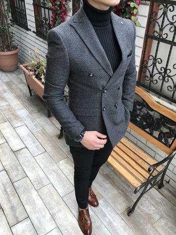 b4f5c9053090c Terziademaltun – Italian fashion males's blazer single jacket slim match  darkish grey T2929 (1