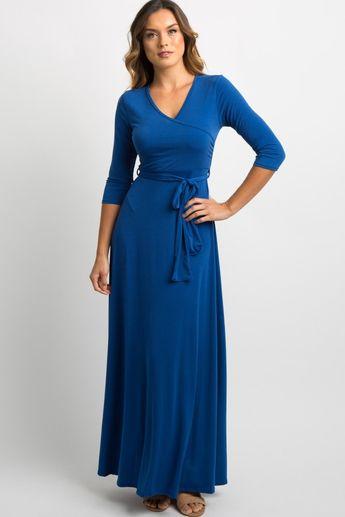 Royal Blue Solid Sash Tie Maxi Dress