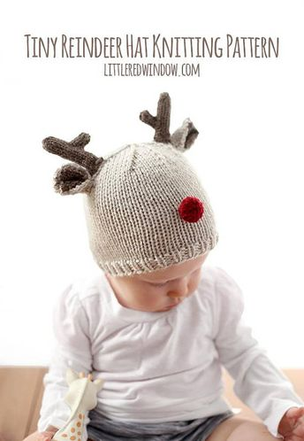 1d5a9e30ffe Reindeer Baby Hat KNITTING PATTERN for babies   toddlers   Christmas Hat  Baby   Baby Reindeer