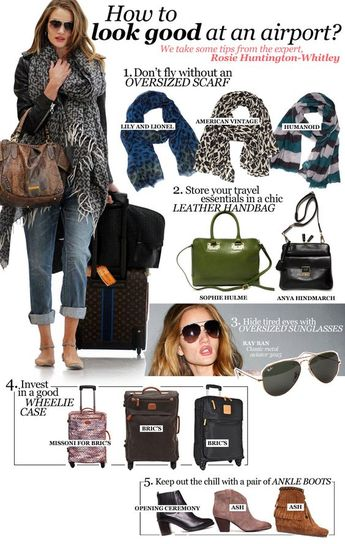 Tips from Rosie Huntington-Whitley for creating a chic airport outfit