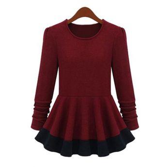 6a216177a6e2e Stylish Round Neck Long Sleeve Color Block Women s Knitwear