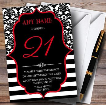 Vintage Damask Red 21st Personalised Birthday Party Invitations