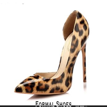 3f4408f53d1 Unique Leopard Yellow Party Shoes With Slim Heels 2018  MSL-7809 - GemGrace.