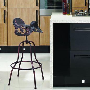 Adeco Adjustable Bar Stool with Saddle Seat (Brown) (Metal)