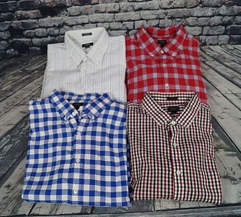 f323d635 J Crew Plaid Check Shirt Lot of 4 Button Down Shirts Mens L Large XL Slim