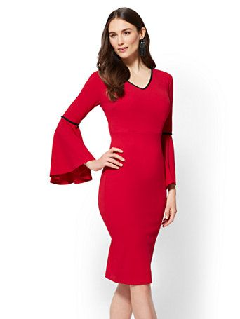 Statement-Sleeve Sheath Dress