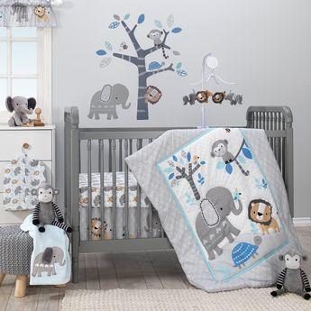 8e61024c94d Jungle Fun Gray/Blue/White Elephant, Lion and Monkey 3-Piece Baby