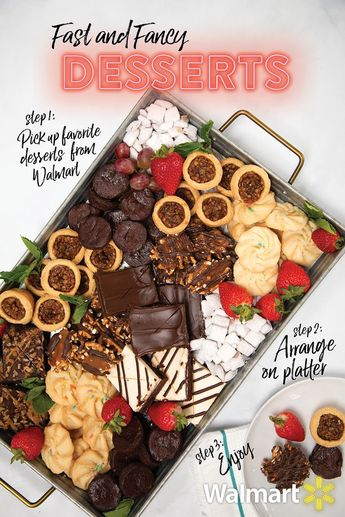 Holiday desserts are so quick and easy when you use Grocery Pickup at Walmart. Simply unpack all of your Walmart packaged bakery desserts and display on a large platter! Then add strawberries and mint for a pretty pop of color.