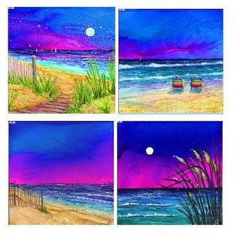 "Beach Coaster Set- Four 4 1/4""x 4 1/4"" ceramic tiles. Imprint of Alcohol Ink paintings."