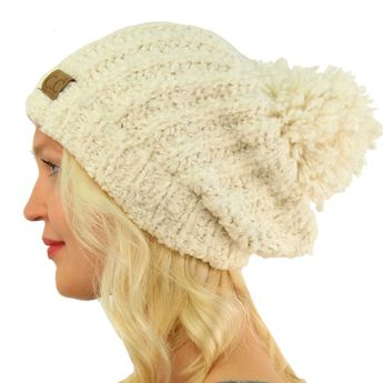 1a1201ff210 Winter CC Soft Chenille Pom Pom Warm Chunky Stretchy Knit Beanie Cap Hat  Ivory  fashion