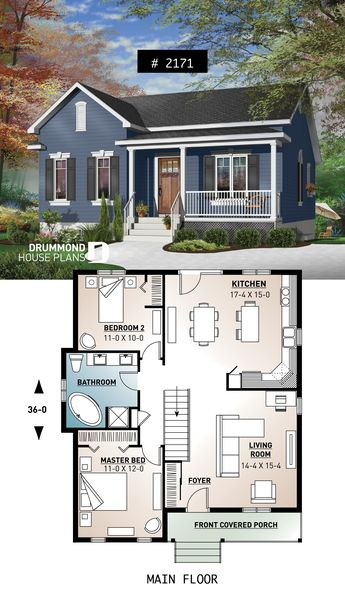 One-story economical home with open floor plan, kitchen with island #small #affordable #homedesign #houseplan #homeplan #architecture #architectural #home #frontporch #bluehouse #farmhouse #countrystyle