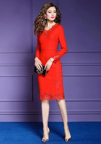 Office Lady wool dress 2019 new Women ladies sexy Full sleeves Party Dress Plus Size winter floral Vintage Knee Length dresses