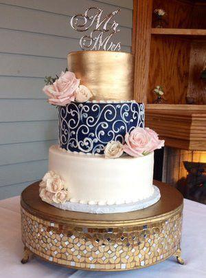 Navy Gold And Blush Wedding Cake