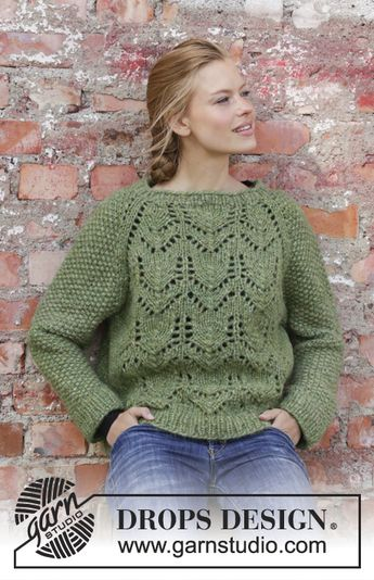 13c71929d056 Knitted jumper in DROPS Air. The piece is worked top down w