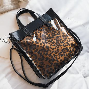 d7e2b6e50719 Tiger Print Shoulder Clear Bag PVC Animal Printed Tote Bag