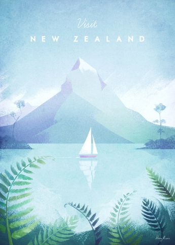 New Zealand by Henry Rivers | metal posters