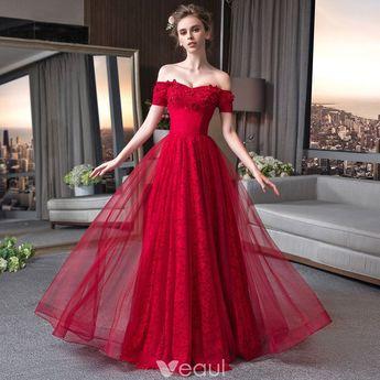 3fdcdaa1c58be9 Elegant Burgundy Lace Evening Dresses 2018 A-Line   Princess  Off-The-Shoulder