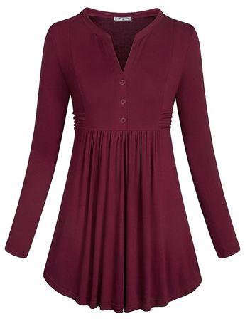 87bebfdfc44ff Women s Long Sleeve Mandarin Collar Shirt Pleated Button Flare Hem Tunic  Tops (FBA) -