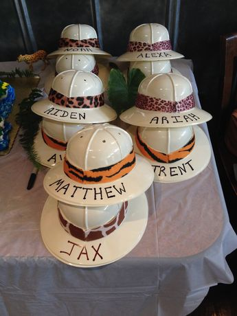 Safari Hats! with animal print duct tape around the brim and their name printed on the front! adorable!