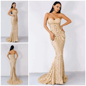 3bce51171f0 Fashion Genie Boutique  genieboutique. 42w 1. Infinite Dreams Gold Glitter  Strapless Maxi Dress