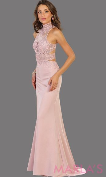 7b5613db81f Long dusty rose open back fitted dress. This low back pink gown is perfect  for