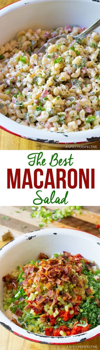 This classic southern Macaroni Salad recipe contains surprise ingredients to give it that silky, perky, superaddictive flavor we all know and love. #ASpicyPerspective #MacaroniSalad #PastaSalad #MacSalad #MacaroniSaladRecipe #HowtoMakeMacaroniSalad #PastaSaladRecipe #SideDish #Salad #Healthy