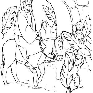 Triumphal Entry of Jesus to Jerusalem in Palm Sunday Coloring Page: Triumphal Entry of Jesus to Jerusalem in Palm Sunday Coloring Page – Color Luna