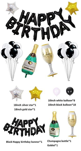Birthday Party Decoration Kit Happy Birthday Banner Champagne Bottle Goblet Stars Latex Balloons for Birthday Party Supplies ... (Black)