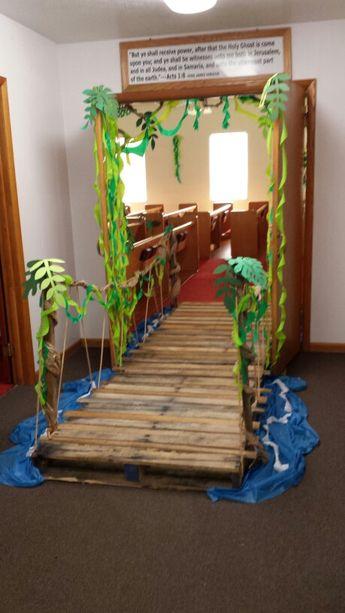 VBS- Journey Off the Map - Decorations - Jungle theme - Bridge into sanctuary - Calvary Baptist Church