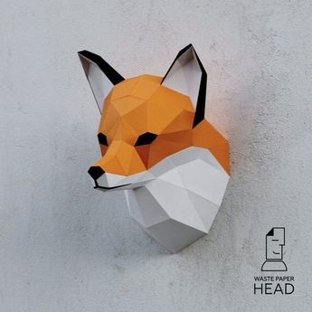 02 - papercraft fox head - printable digital template