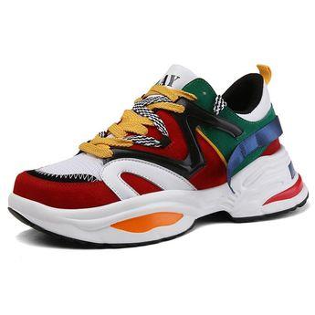 online retailer 9ef32 4a5ec Dad Shoes Low-Cut Upper Lace-Up Round Toe Men s Sneakers