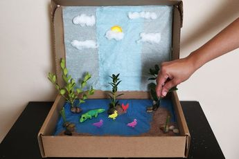 Create a habitat project for school in a shoebox or plasti