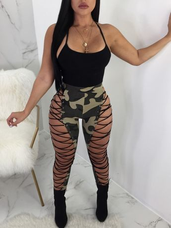 cf13b1b356b0a Fashion High Elastic Waist Lace-up Hollow-out Leather Pants
