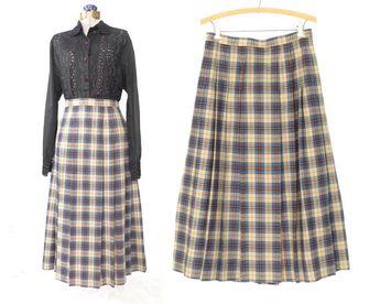 d2f6baf1ae4e plaid wool skirt * pleated skirt * 80s kilt skirt * vintage wool skirt *  vintage
