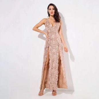 9592d2a11af Fashion Genie Boutique  genieboutique. 42w 3. Crash The Party Rose Gold Sequin  Double Split Maxi Dress