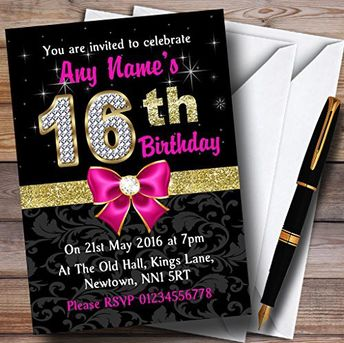Pink Black Gold Diamond 16Th Birthday Party Personalized Invitations