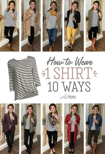 How to wear a striped shirt in 10 different ways! A good basic striped t-shirt can